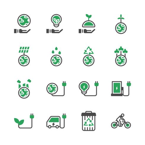 Ekologi ikon set.Vector illustration vektor
