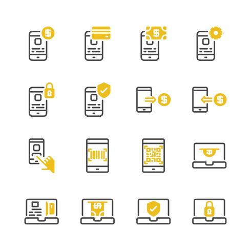 Online-Zahlung-Icon-Set. Vektor-Illustration vektor