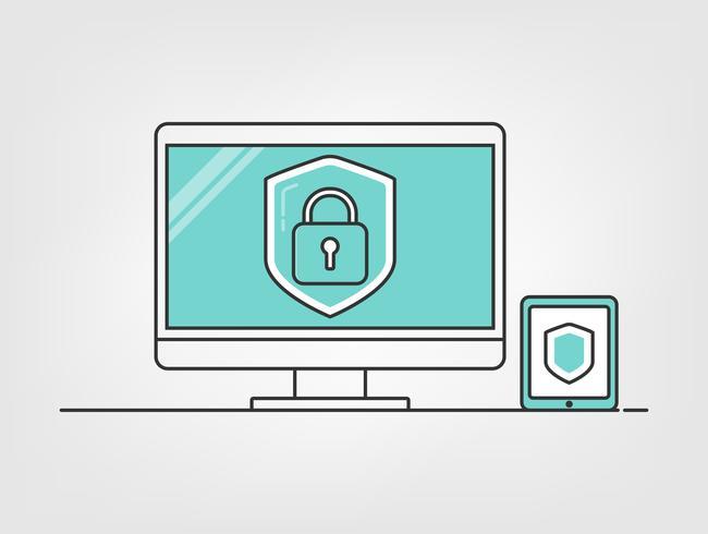Cyber-dator säkerhet. Sköld med dator och mobil digital data bakgrund. information om integritetsskydd. vektor