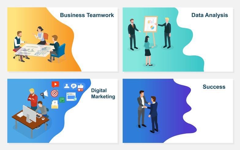 Grundläggande RGB-uppsättning affärsverksamhet vektor affärsman som arbetar med team på kreativa idéprojekt för att analysera företagets finansiella strategi. Koncept för kontor diskutera brainstorm framgång.
