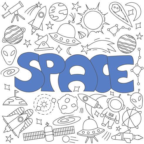 Handritad doodle av rymduppsättning vektor