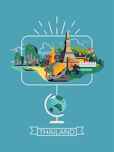Thailand resmål destination affisch mall vektor