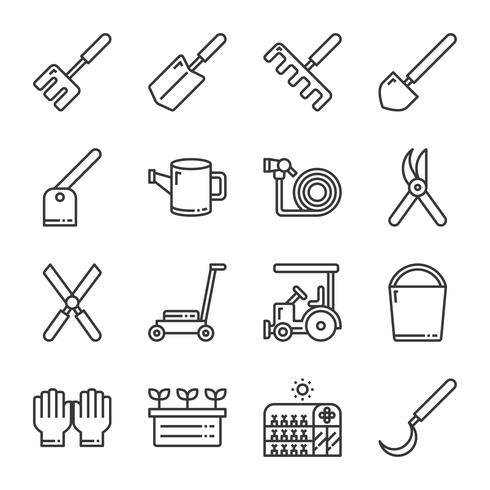 trädgårds ikon set.vector illustration vektor