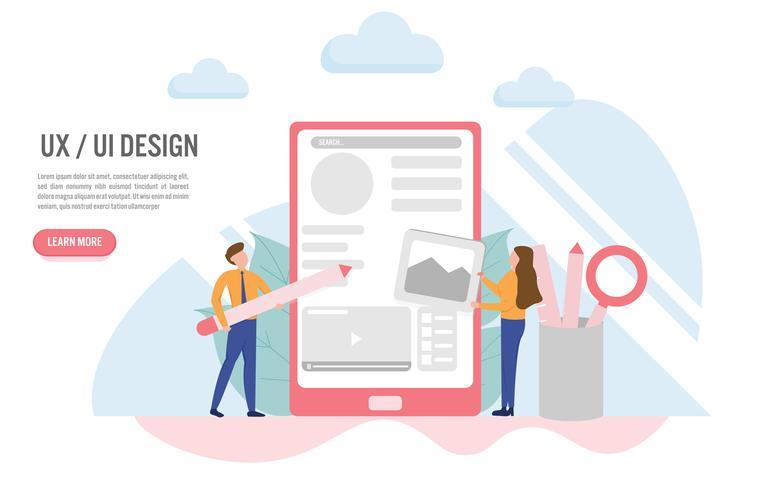 Benutzererfahrung und Benutzerschnittstellenkonzept mit Charakter Kreatives flaches Design für Netzfahne vektor