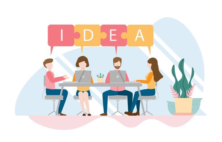 Team, das Konzept mit Charakter denkt und gedanklich löst. Kreatives flaches Design für Netzfahne vektor