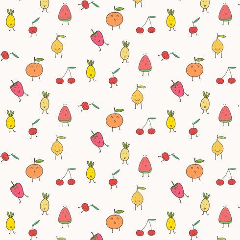 Netter Frucht-Muster-Hintergrund. Vektor-Illustration. vektor