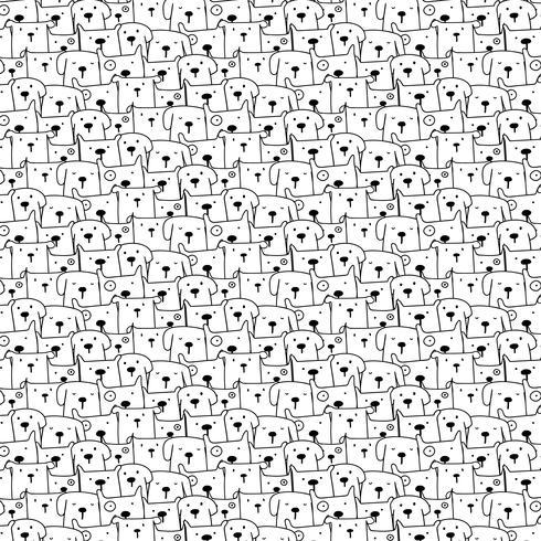 Hand gezeichneter Bären-Vektor-Muster-Hintergrund. Spaß-Gekritzel. Handgemachte Vektor-Illustration. vektor