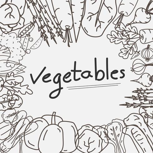 Hand gezeichneter Gemüse-Gekritzel-Hintergrund. vektor
