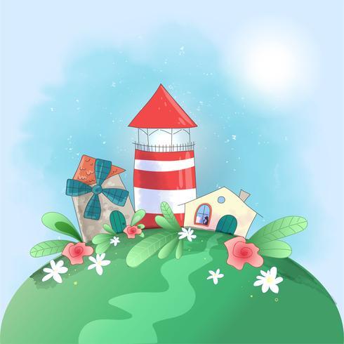 Niedlicher Cartoonkleinstadtleuchtturm, -mühle und -haus mit Blumen, Postkartendruckplakat für das Kinderzimmer. vektor