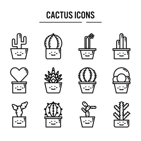 Kaktusikone eingestellt in Entwurfsdesign vektor