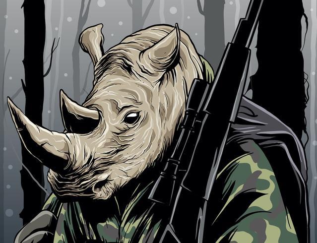 Rhino Hunter i Jungle vektor