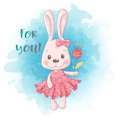 Tecknad Söt kaninflicka med blommor. Vektor illustration