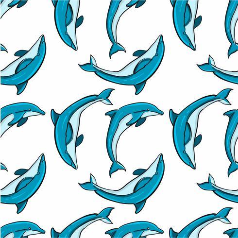 Handritad sömlös delfinmönster vektor