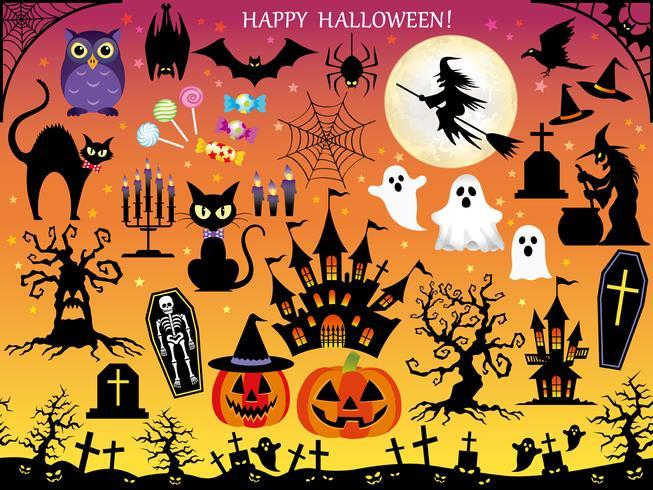 Satz sortierte glückliche Halloween-Gestaltungselemente. vektor