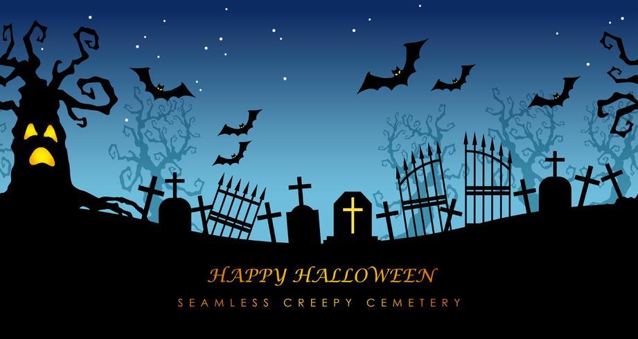 Glad Halloween sömlös skumkyrkogård med textutrymme vektor