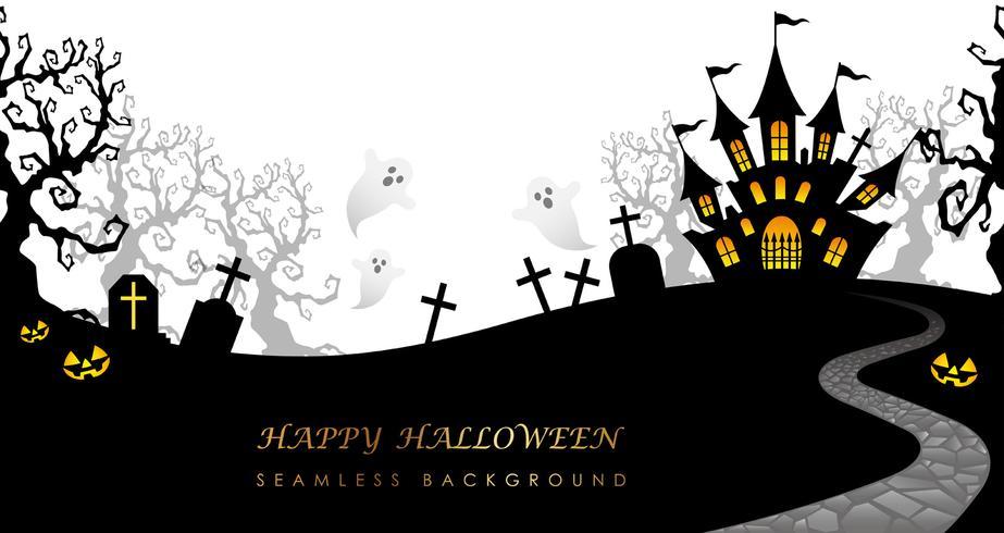 Glad Halloween sömlös bakgrund med textutrymme, vektor