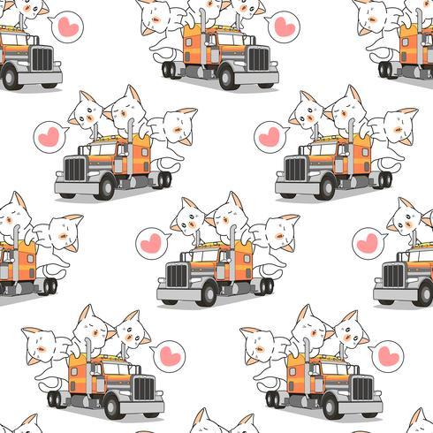 Sömlösa kawaii-katter på lastbilsmönstret vektor