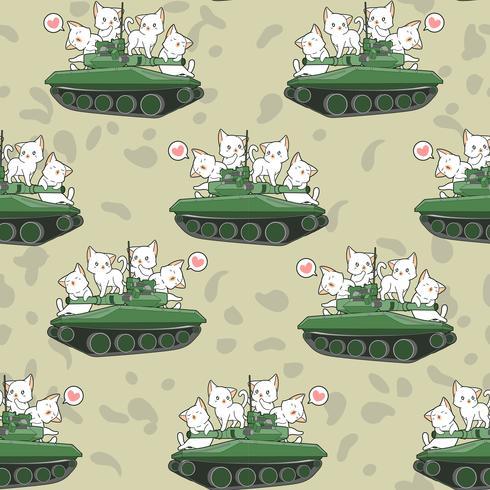 Sömlösa söta katter och krigstankar mönster vektor