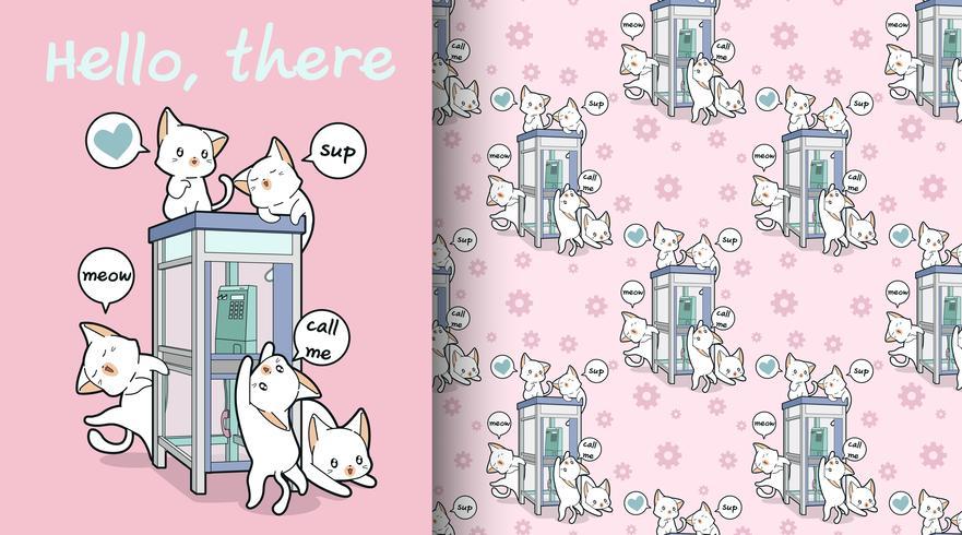 Seamless kawaii katter och telefon booth mönster vektor