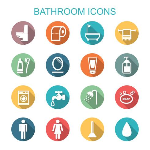 badrum långa skugg ikoner vektor