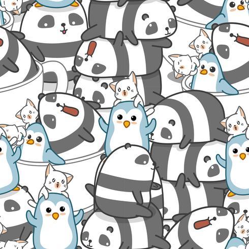 Seamless panda och vänner mönster. vektor