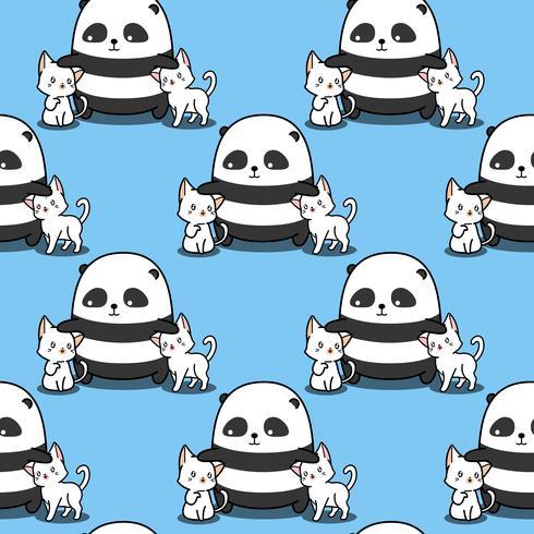 Sömlös panda älskar kattmönster. vektor