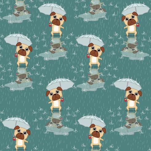 Sömlös hund håller paraplymönster. vektor