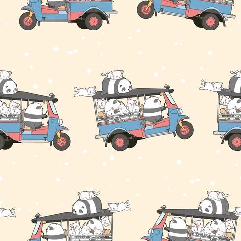 Sömlösa kawaii-katter och panda på tricycle-mönster. vektor