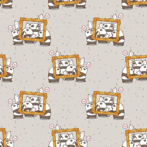 Seamless kawaii pandaer och katter med ett lyxigt rammönster vektor