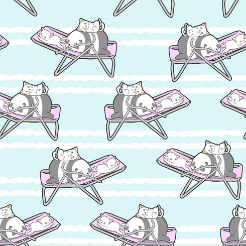 Sömlös panda och katter på vagga mönstret. vektor