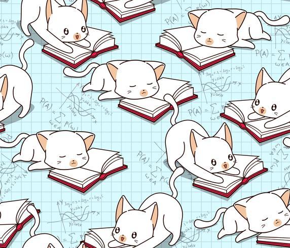 Sömlös söt katt läser ett bokmönster. vektor