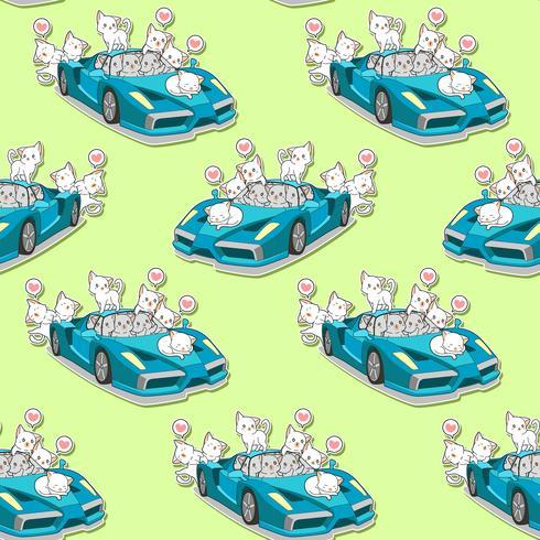Sömlösa söta katter och blått super bilmönster. vektor
