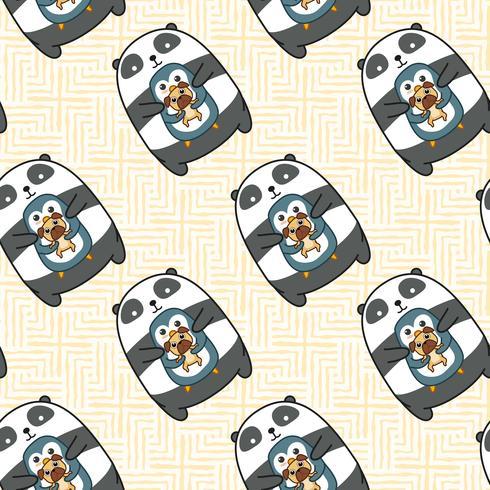 Nahtloses Panda-Pinguin- und Hundemuster. vektor