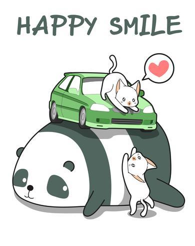 Kawaii Katzen mit dem Auto auf Riesenpanda vektor