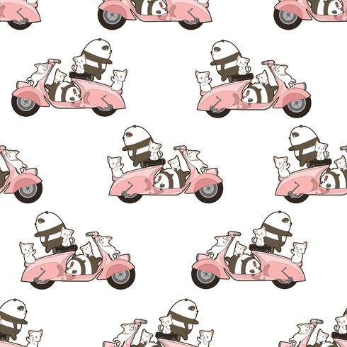 Sömlösa pandor och katter med motorcykelmönster. vektor