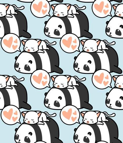 Sömlös panda och kattmönster. vektor