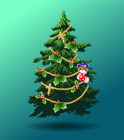 Verzierter Weihnachtsbaum auf Hintergrund des blauen Grüns. vektor