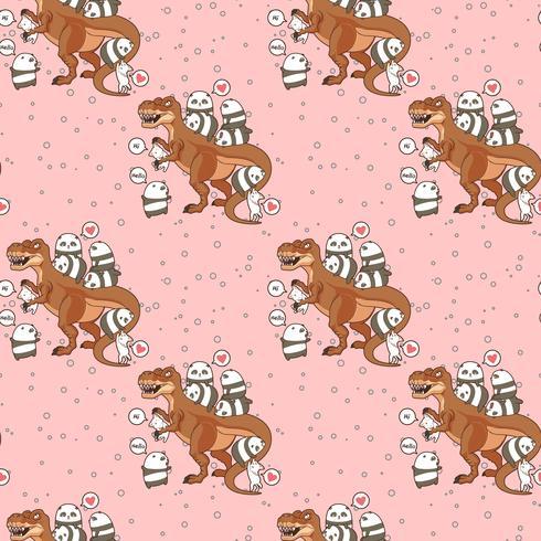 Seamless kawaii pandaer och katter med dinosaurismönster vektor