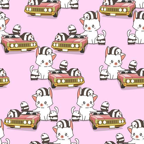 Sömlös jätte katt och små pandor med rosa bilmönster vektor