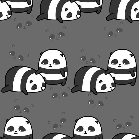 Nahtloses Muster mit 2 niedlichen Pandas. vektor
