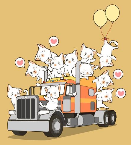 Söt katter på lastbilen i tecknadstil. vektor