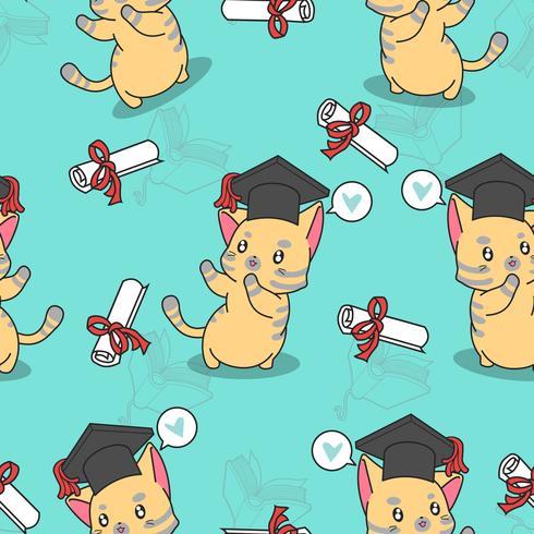 Sömlös gradering söt kattmönster. vektor