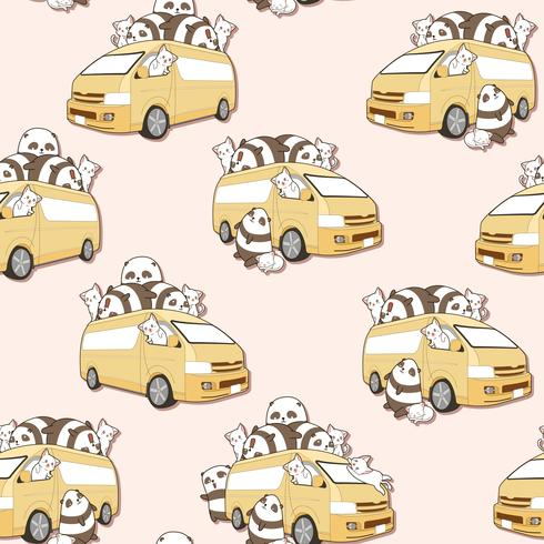 Nahtlose süße Katzen und Panda und van Muster. vektor