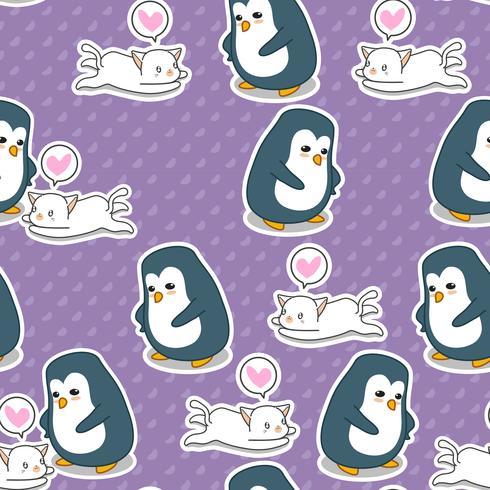 Sömlös pingvin och kattmönster. vektor