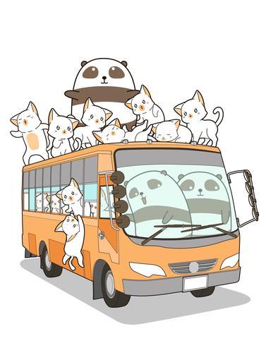 Söt katter och panda och buss i tecknad stil. vektor