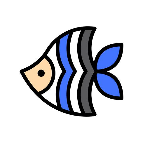 Havsfisk vektor, tropisk relaterad fylld stilikon vektor