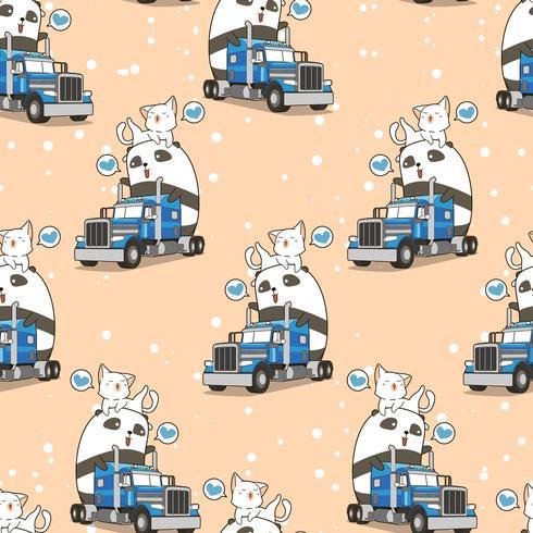 Sömlös söt panda och katt på lastbilen i semestertidsmönster vektor