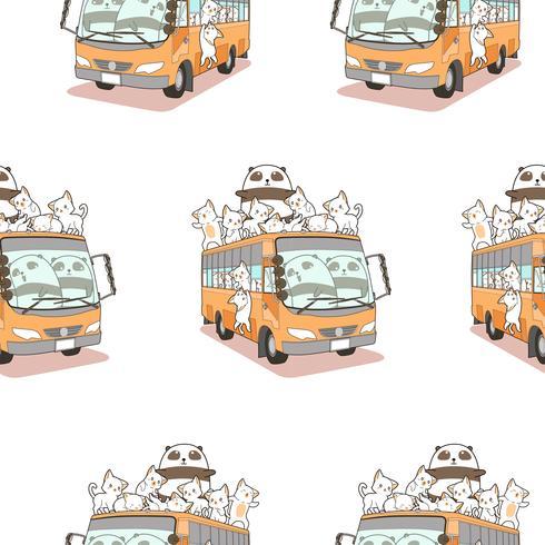 Sömlösa söta katter och panda och bussmönster. vektor