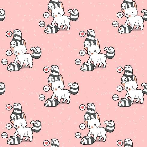Nahtloses Muster der riesigen Katze und der kleinen Pandas vektor