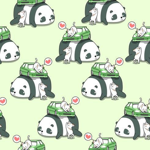 Sömlösa kawaii katter med bil på jätte panda mönster. vektor
